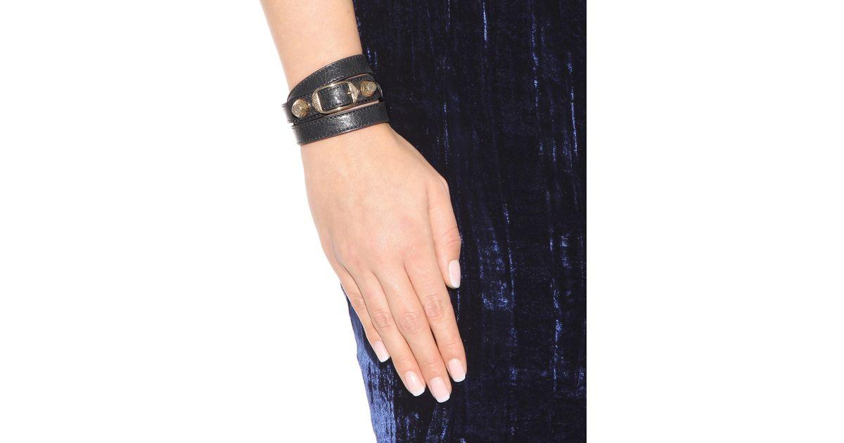 7839a42c6c978 Lyst - Balenciaga Giant Leather Bracelet in Black