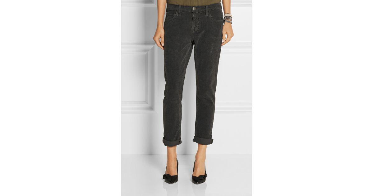 official store luxury sleek Current/Elliott Gray The Fling Mid-Rise Corduroy Slim Boyfriend Jeans