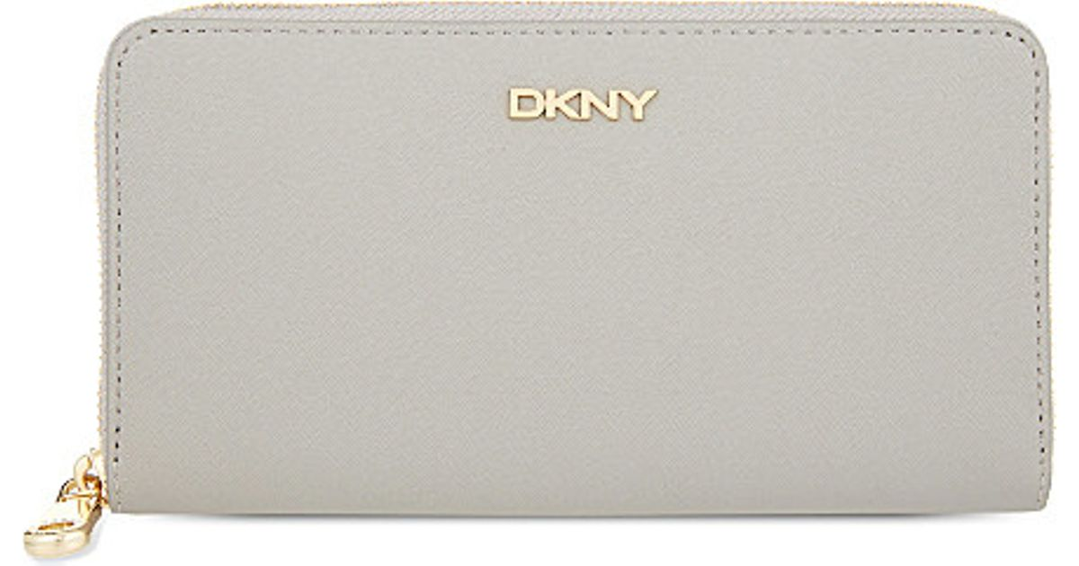 806e239d8e Lyst Dkny Bryant Park Saffiano Leather Zip Around Wallet In Gray