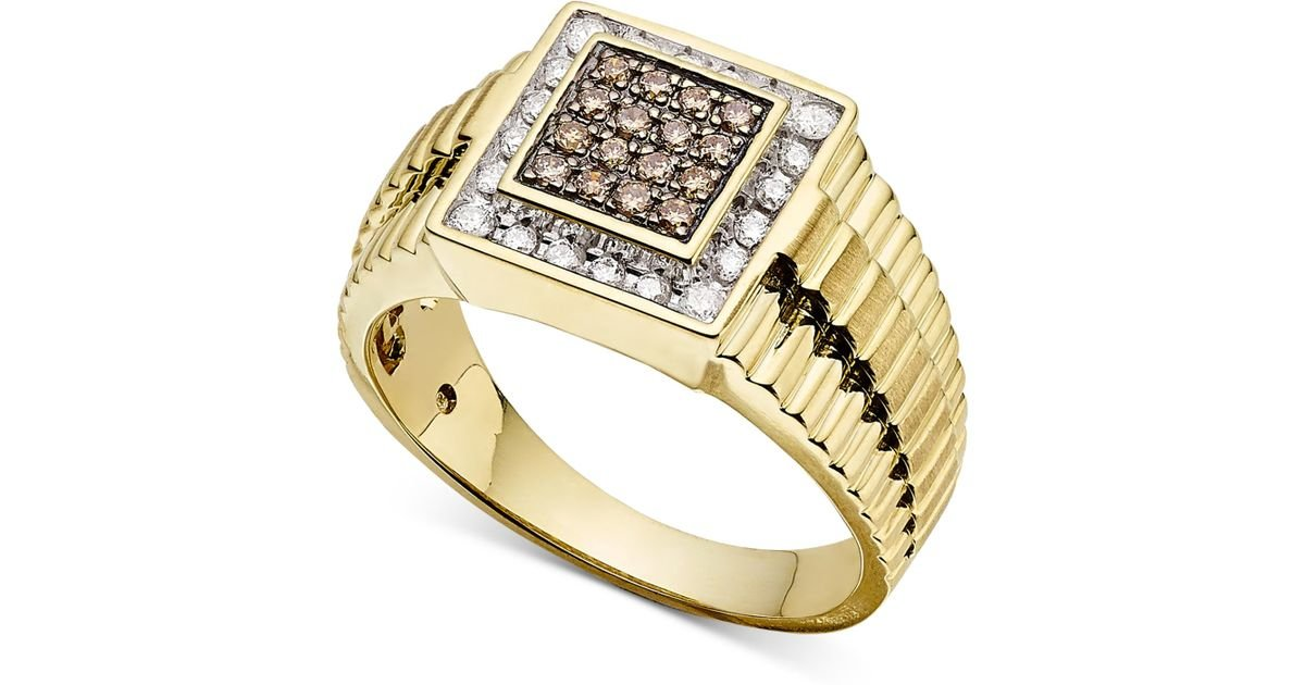 Macy s Men s Diamond Ring 1 2 Ct T w In 10k Gold in Metallic for