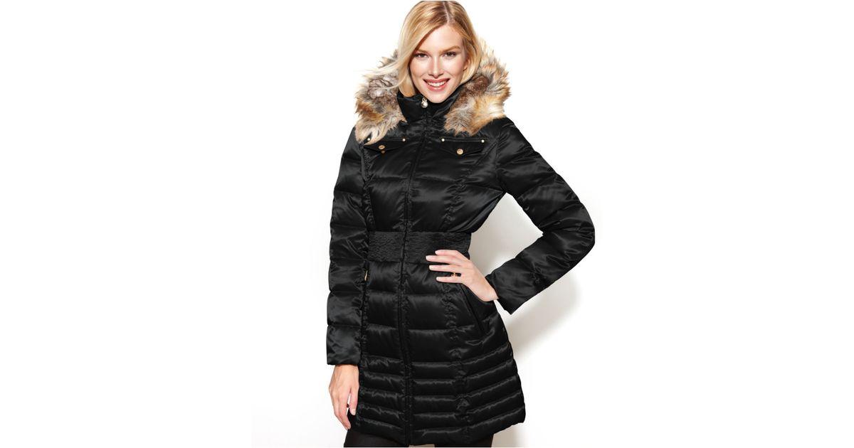 f34cfff700f Lyst - Laundry by Shelli Segal Petite Hooded Faux-Fur-Trim Down Puffer Coat  in Black