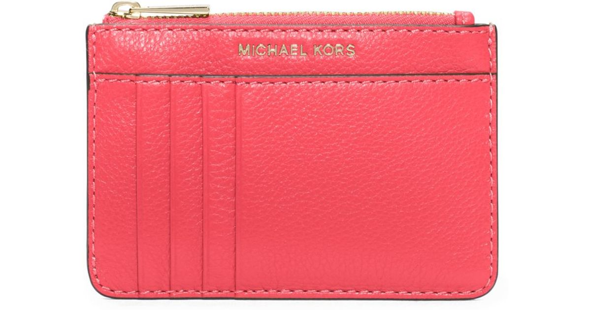 964678d0ca Michael Kors Liane Leather Card Holder in Pink - Lyst