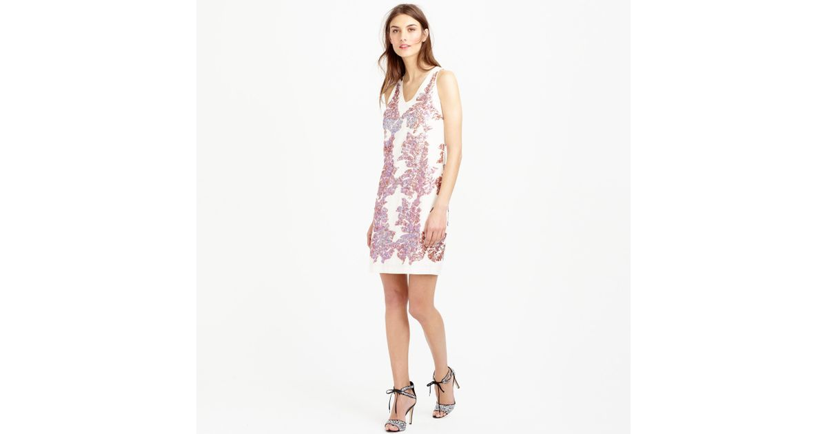 9025f2d2b0e Lyst - J.Crew Linen Sundress In Iridescent Sequin in White
