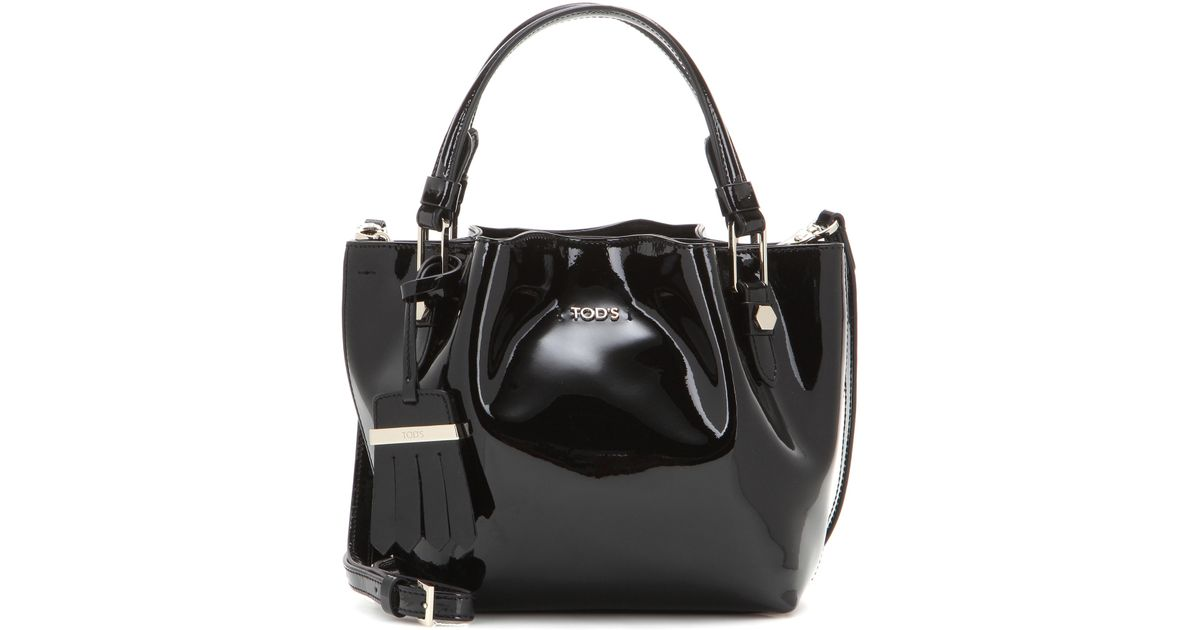 Lyst - Tod s Flower Micro Patent-Leather Bag in Black 8cfee92382c30
