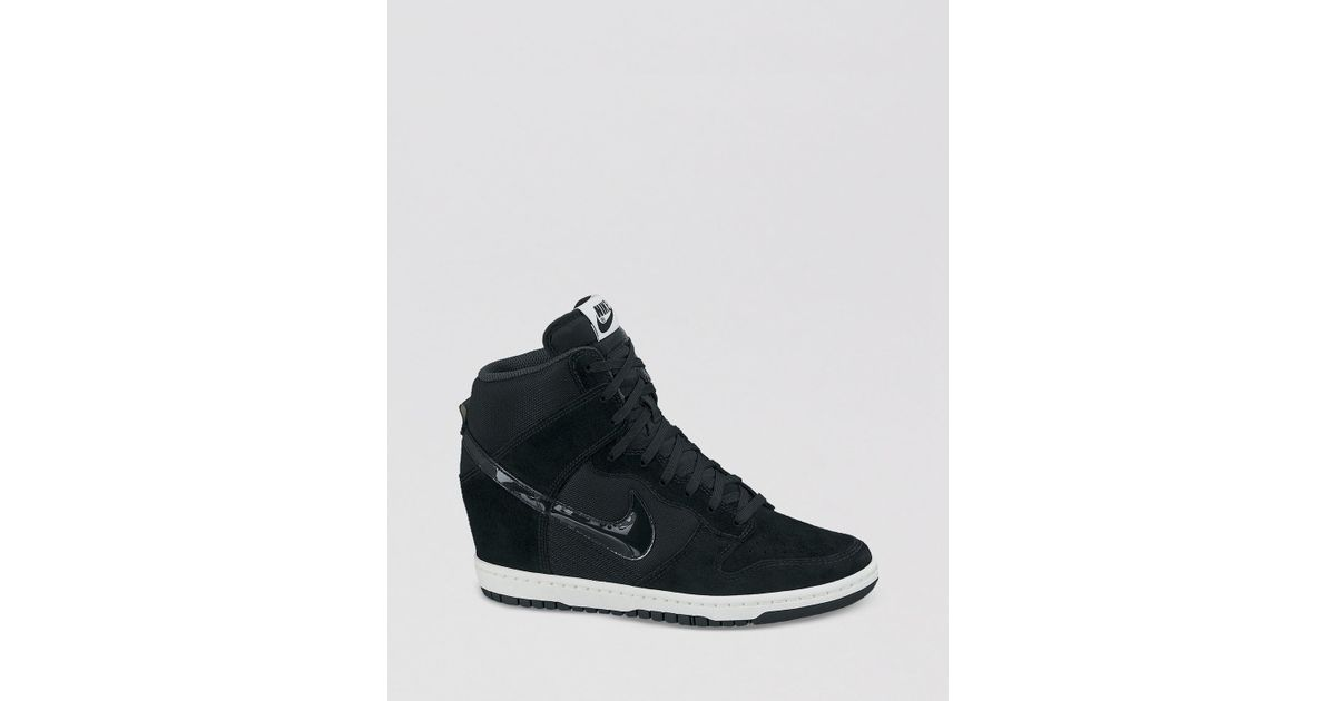 new concept 309ec 56c04 ... discount lyst nike lace up high top wedge sneakers womens dunk sky hi  essential in black