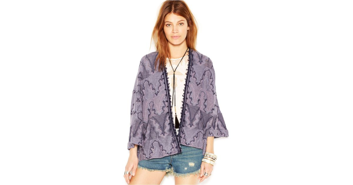 Lyst - Free People Dolman-Sleeve Printed Butterfly Kimono Cardigan in Blue