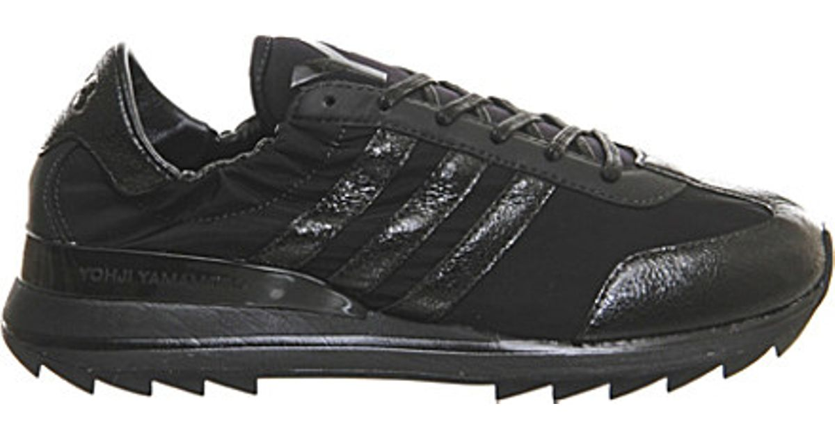 Lyst - Y-3 Rhita Sport Leather And Mesh Trainers in Black 1534aae1c3