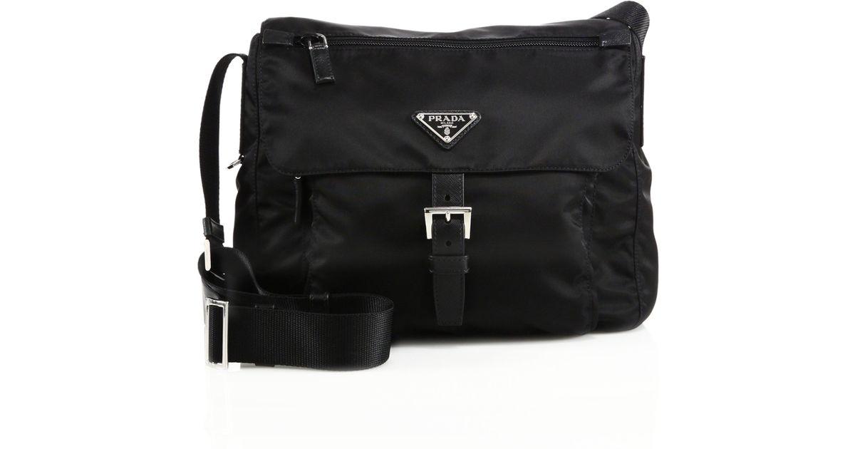prada hangbags - Prada Nylon \u0026amp; Leather Crossbody Bag in Black | Lyst