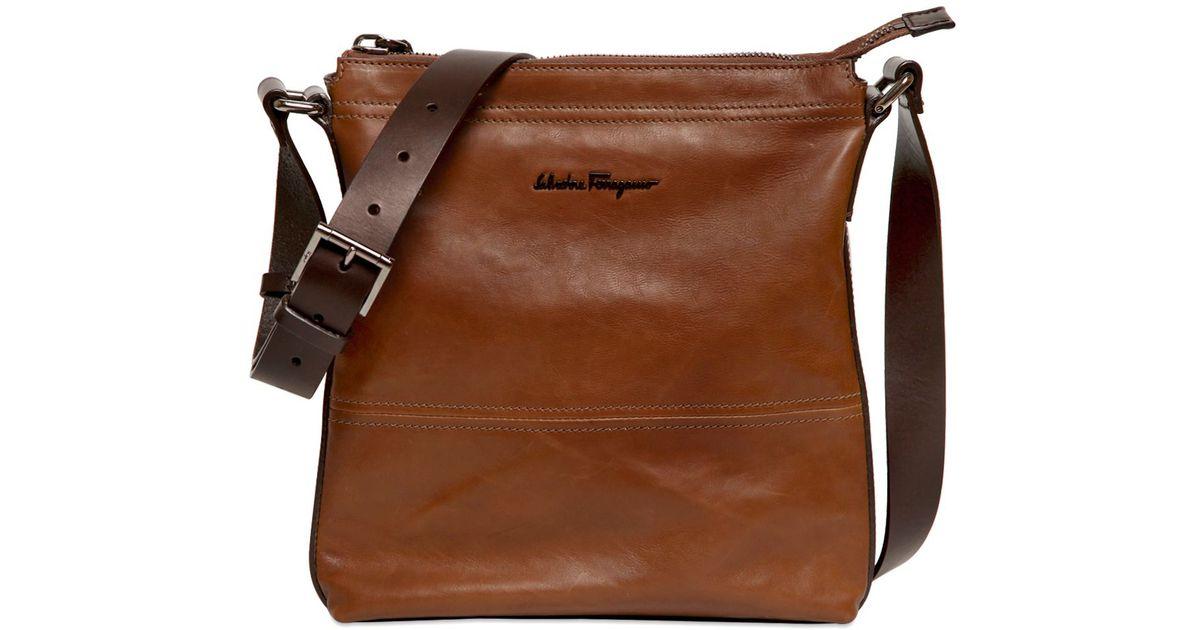 Lyst - Ferragamo Washed Calf Leather Crossbody Bag in Brown for Men e6a760cc29a0a