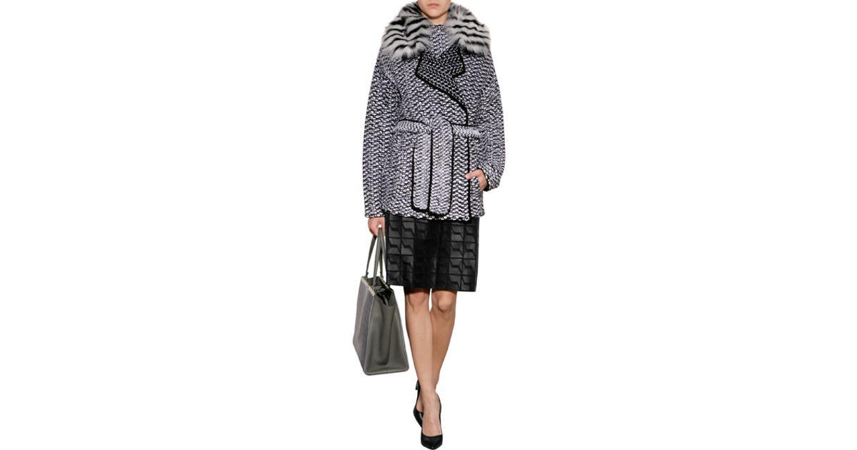 e494360c Fendi - Black Wool-Cashmere Jacket With Fox Fur Collar - Lyst