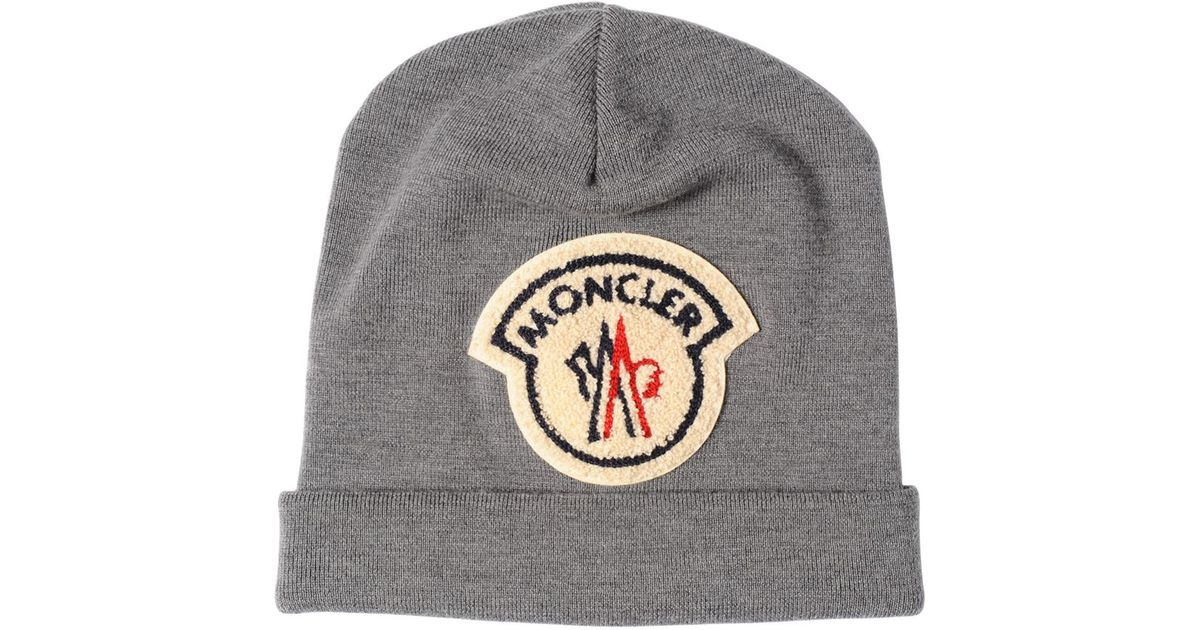 12c79a452d3 Lyst - Moncler Ami Logo Patch On Wool Beanie Hat in Gray for Men