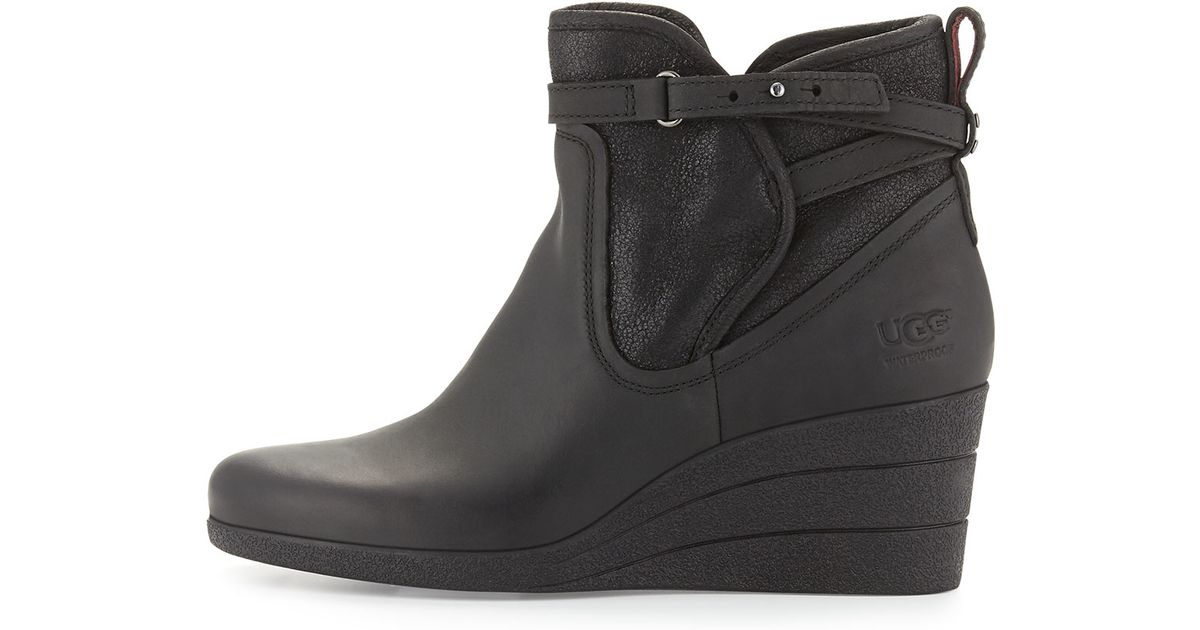 ugg emalie leather wedge boots in black lyst