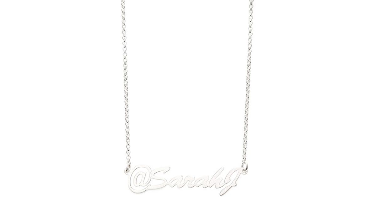 Lyst argento vivo personalized name pendant necklace in metallic mozeypictures Choice Image