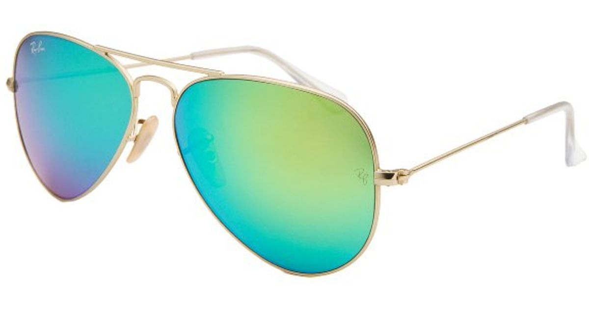 b85107794b where to buy lyst ray ban aviator classic gold tone blue green reflective  lens sunglasses in