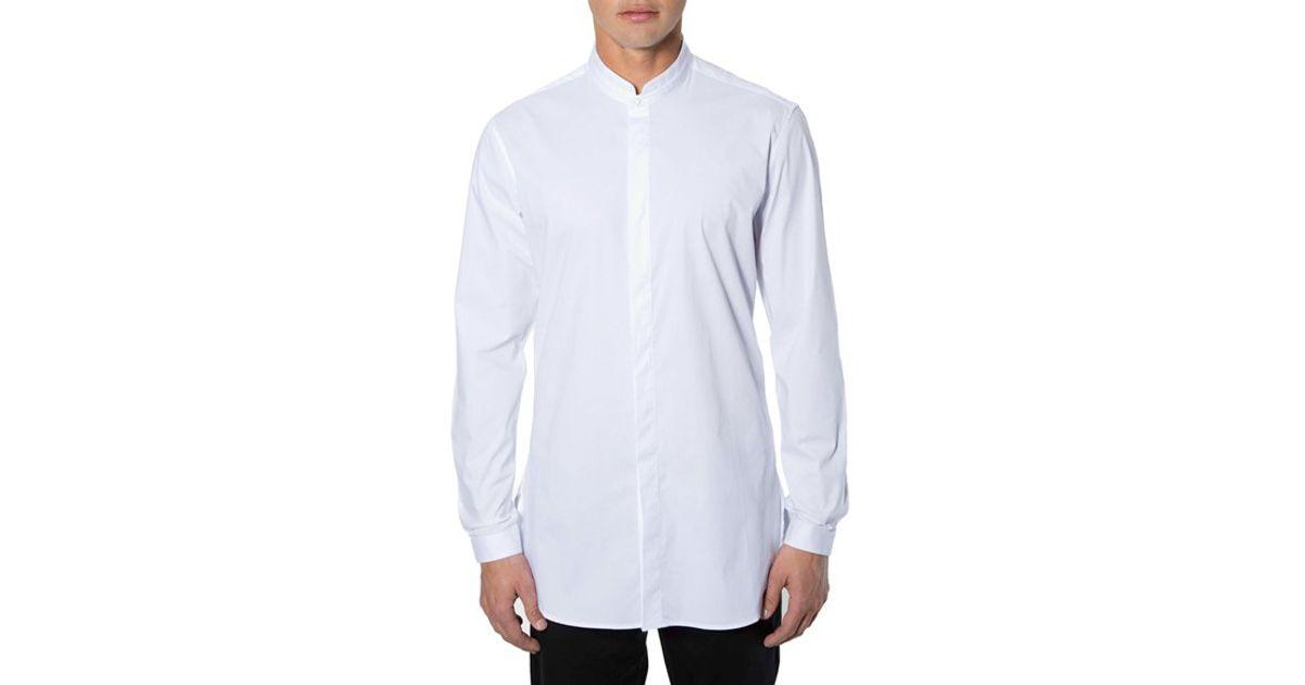 23dbe2a40d907b 7 Diamonds 'brightside' Longline Mandarin Collar Woven Shirt in White for  Men - Lyst