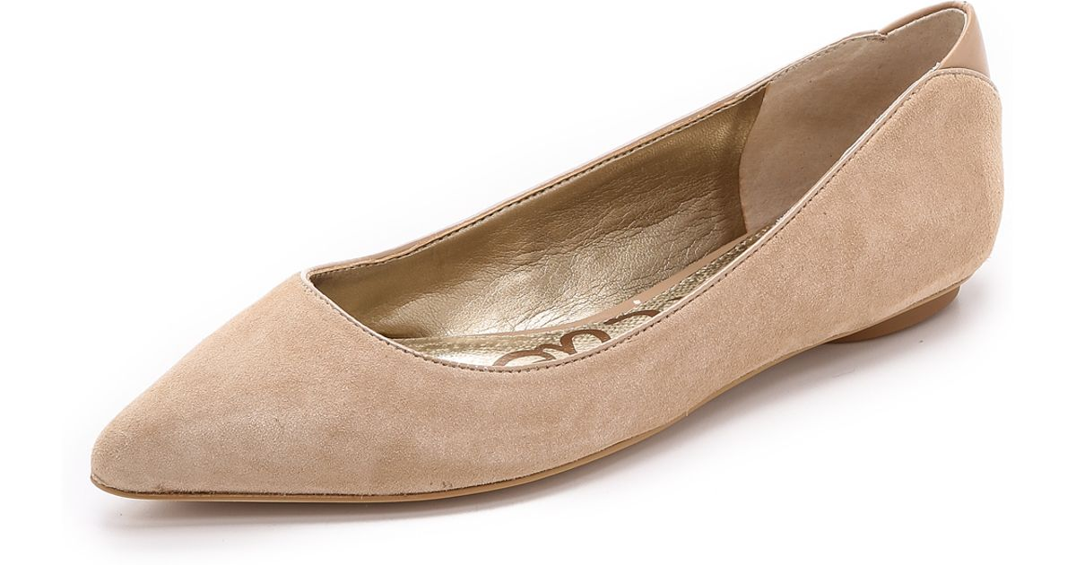 5b7f0126c31b70 Lyst - Sam Edelman Colleen Suede Ballet Flats - Black in Natural