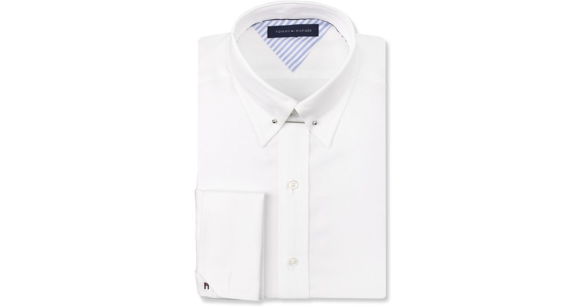 Lyst tommy hilfiger white french cuff dress shirt with for French collar dress shirt