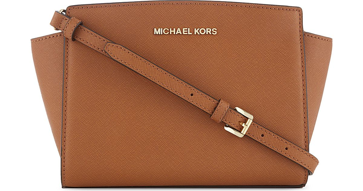 ee16904465fdff MICHAEL Michael Kors Selma Medium Leather Messenger Bag in Brown - Lyst