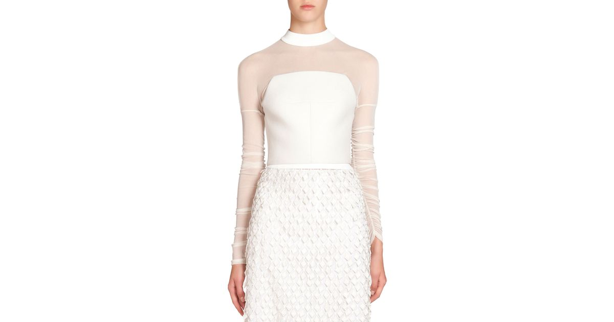 d418dcb820790 Lyst - Balenciaga Illusion Crepe Crop Top in White