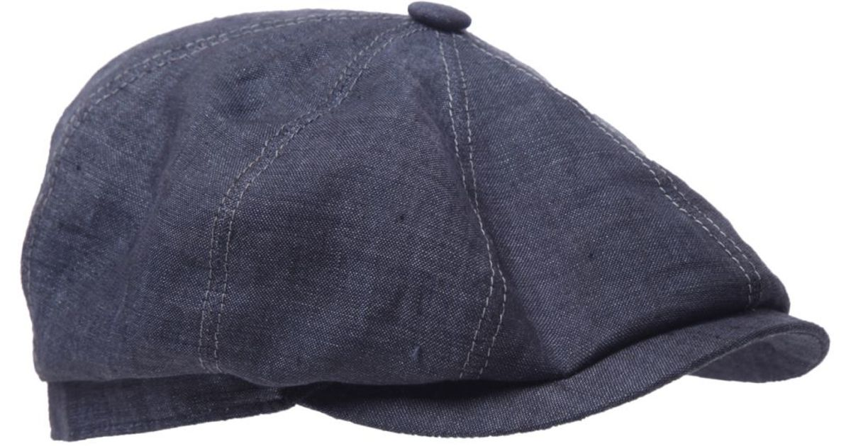 Lyst - Stetson Hatteras Linen Cap in Blue for Men 48dd8aad126