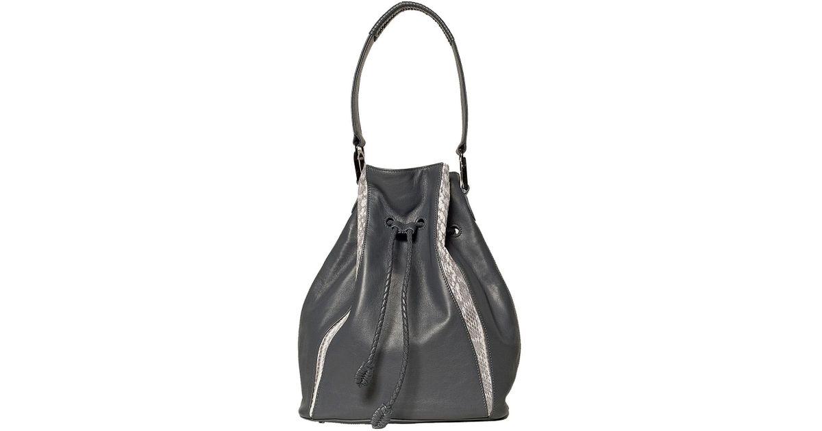 Khirma eliazov Celine Leather Bucket Bag in Gray (grey) | Lyst