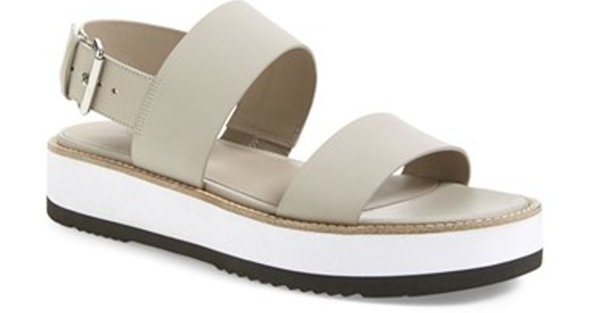 46f42e9bd06 Lyst - Vince Mana Leather Platform Sandals in Gray