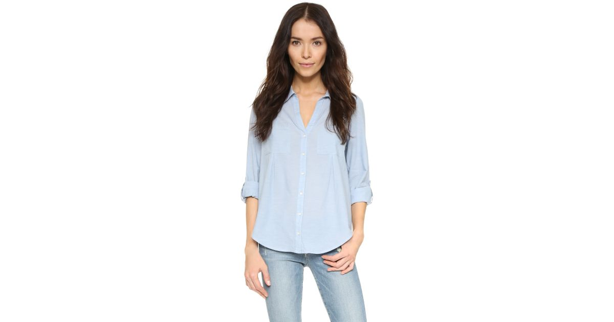 Joie cartel chambray shirt in blue chambray blue lyst for Blue chambray shirt women s