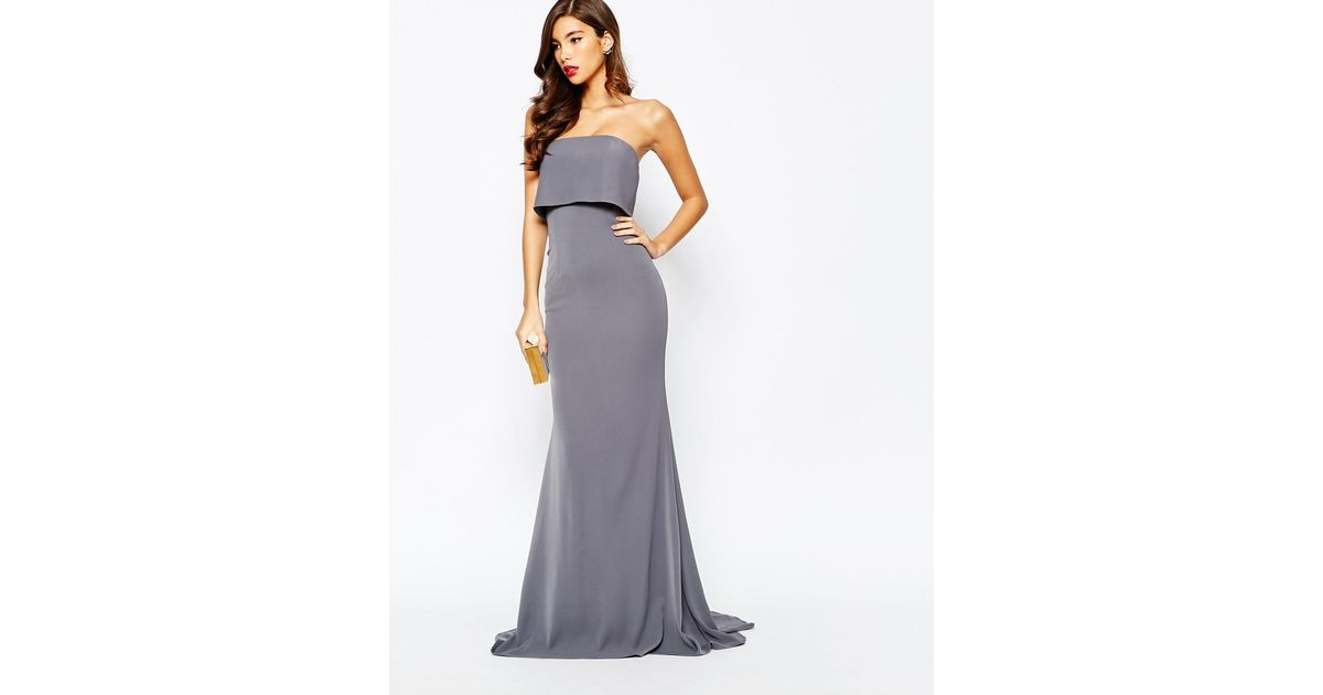 9b64969ab7c1 Jarlo Blaze Strapless Maxi Dress With Overlay in Gray - Lyst