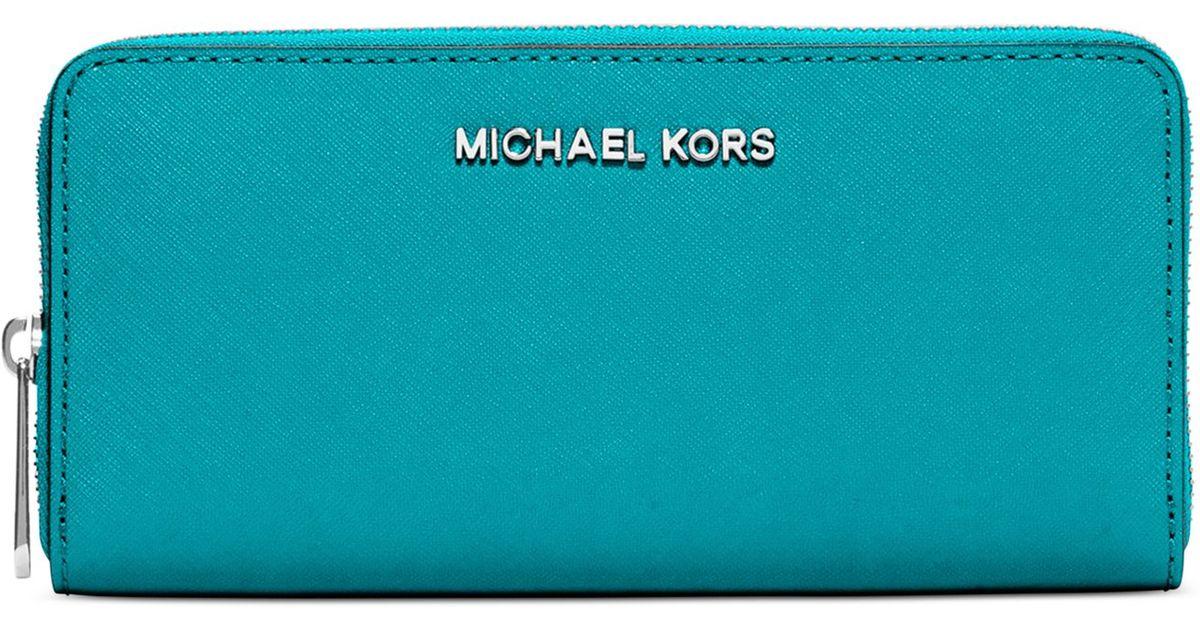 050b1bff86b6 Michael Kors Michael Travel Zip Around Continental Wallet in Blue - Lyst