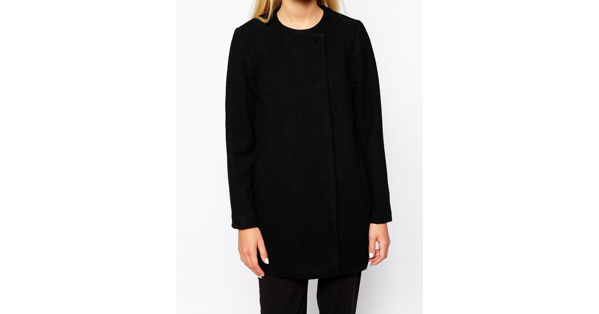 Monki Collarless Coat in Black | Lyst