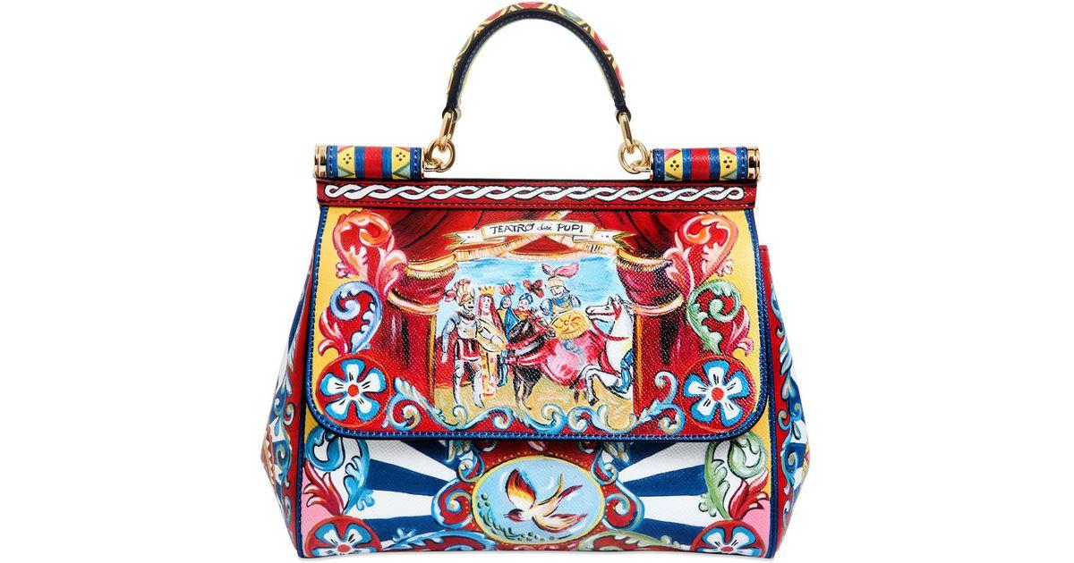 6ae9169f84 Lyst - Dolce   Gabbana Medium Sicily Puppet Print Dauphine Bag