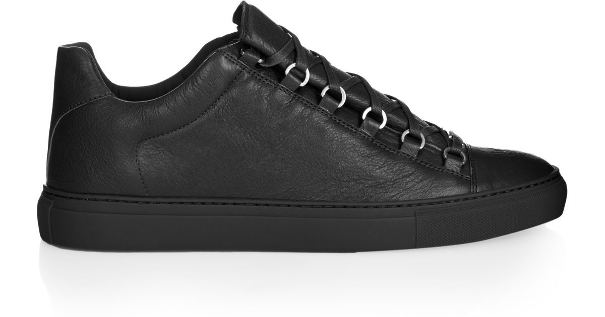 balenciaga arena low top leather trainers in gray for men lyst. Black Bedroom Furniture Sets. Home Design Ideas