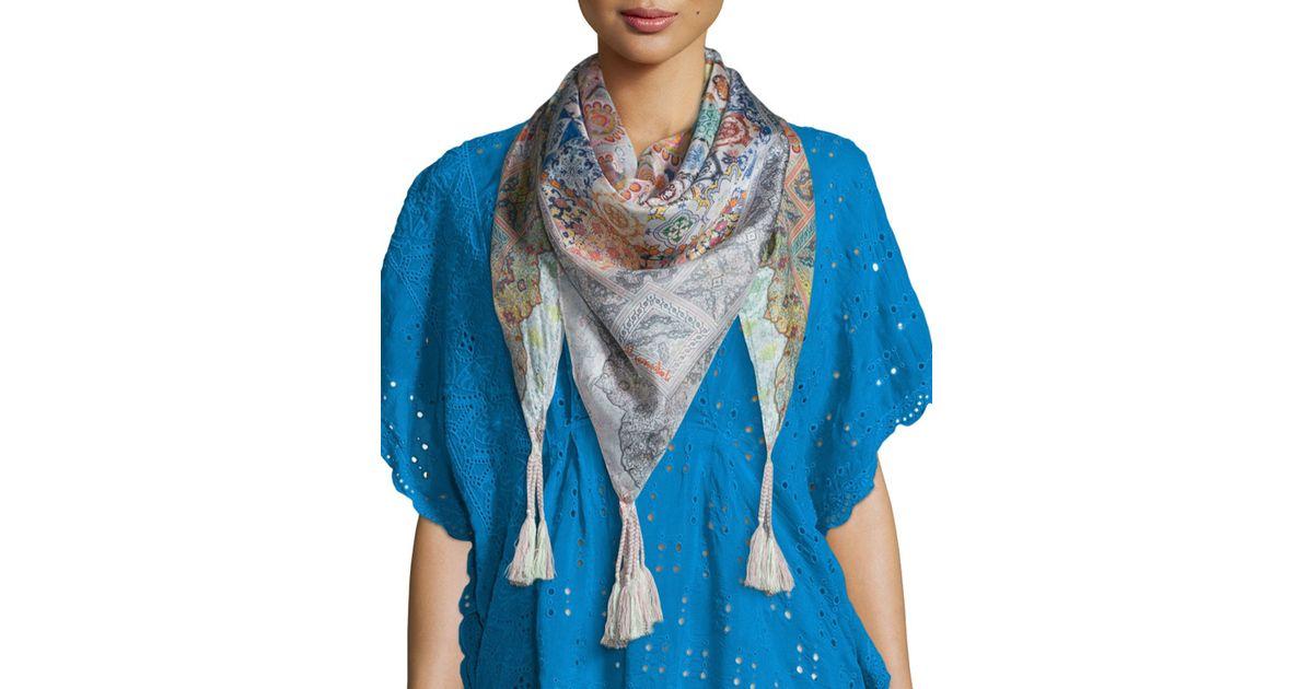 johnny was jessner silk georgette scarf in blue multi
