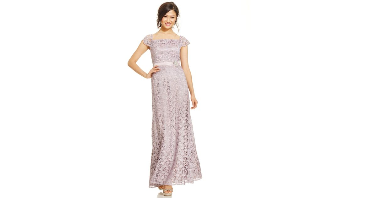 Snap Lyst Xscape Plus Size Lace Shimmer Mermaid Gown in Gray photos ...