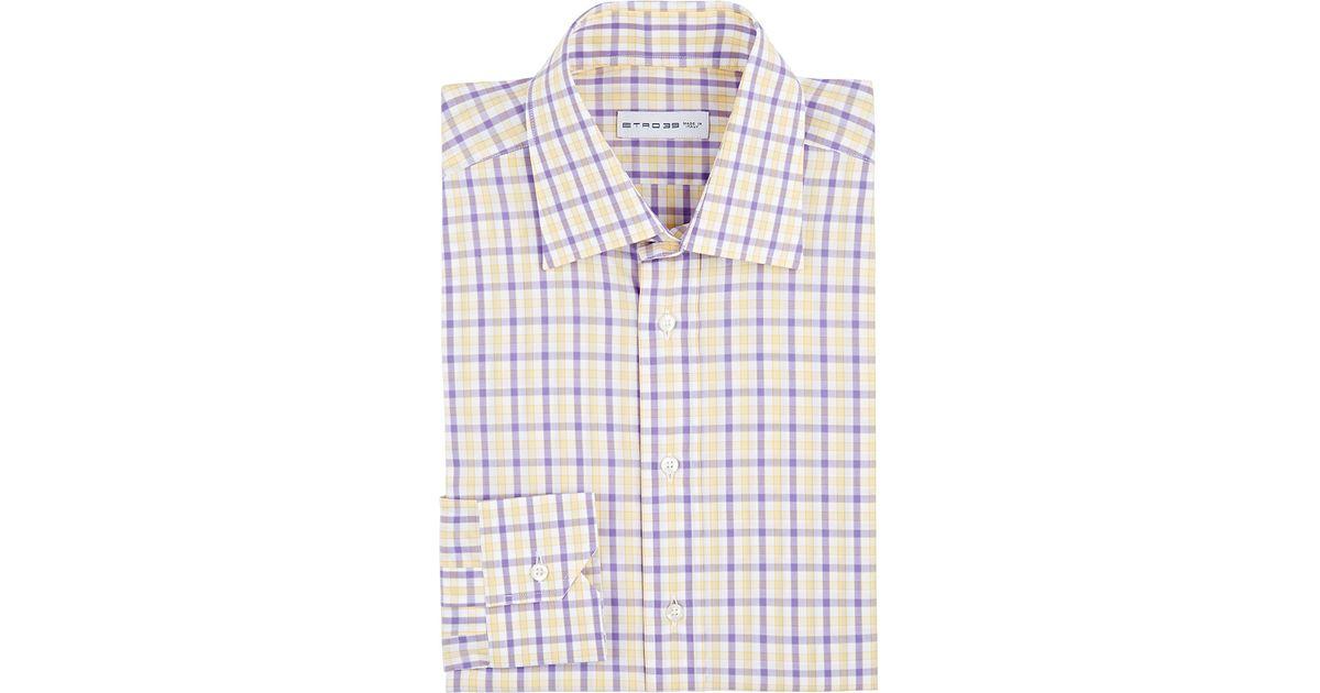 Etro Plaid Dress Shirt In Purple For Men Lyst