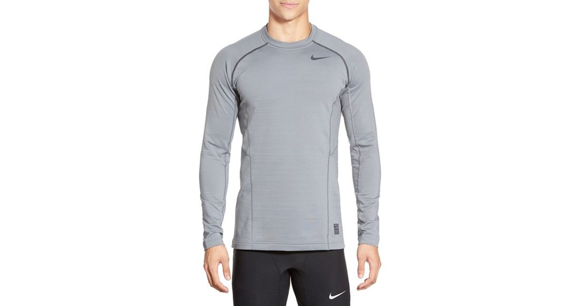 Nike Gray 'pro Hyperwarm' Fitted Long Sleeve Dri fit T shirt for men