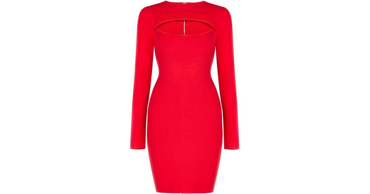 e365cbdb962 Source https   www.lyst.com clothing bcbgmaxazria-fyona-cutout-sweater-dress -red-berry