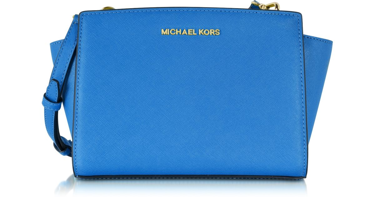 ... usa lyst michael kors selma medium saffiano leather messenger bag in  blue 9ea2a 65346 ... bbba576a81