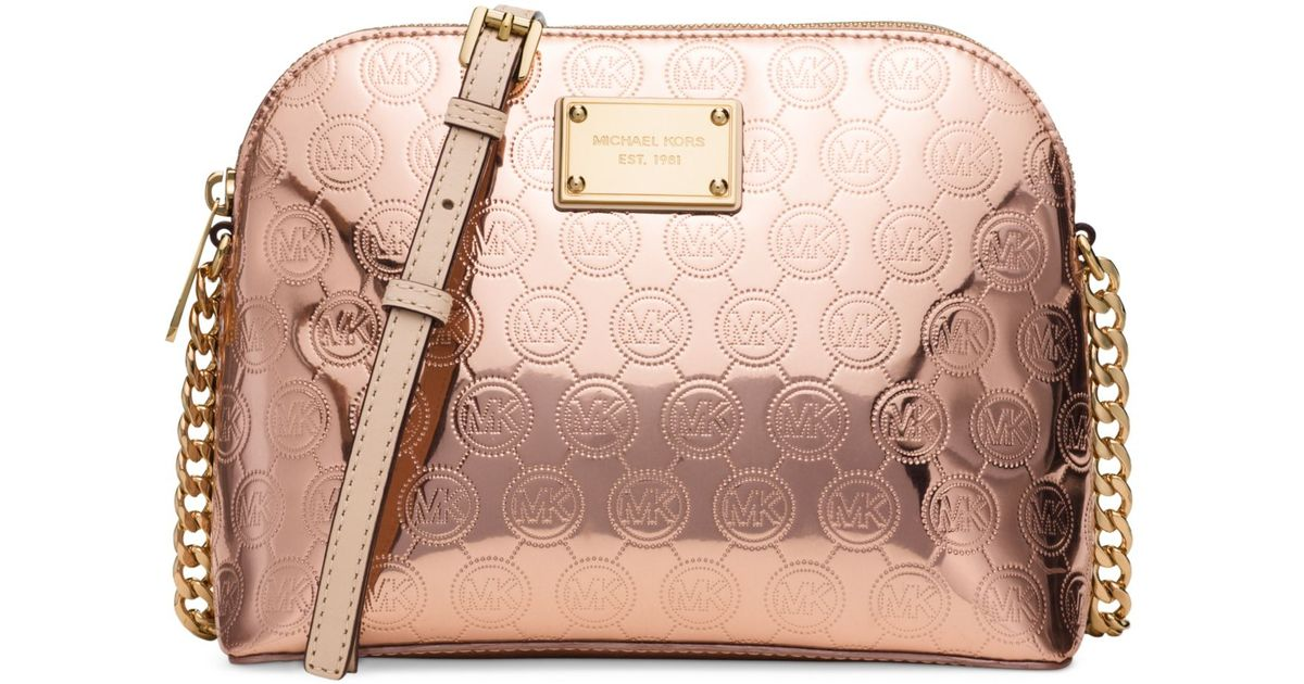 michael kors michael cindy large dome crossbody in pink lyst. Black Bedroom Furniture Sets. Home Design Ideas