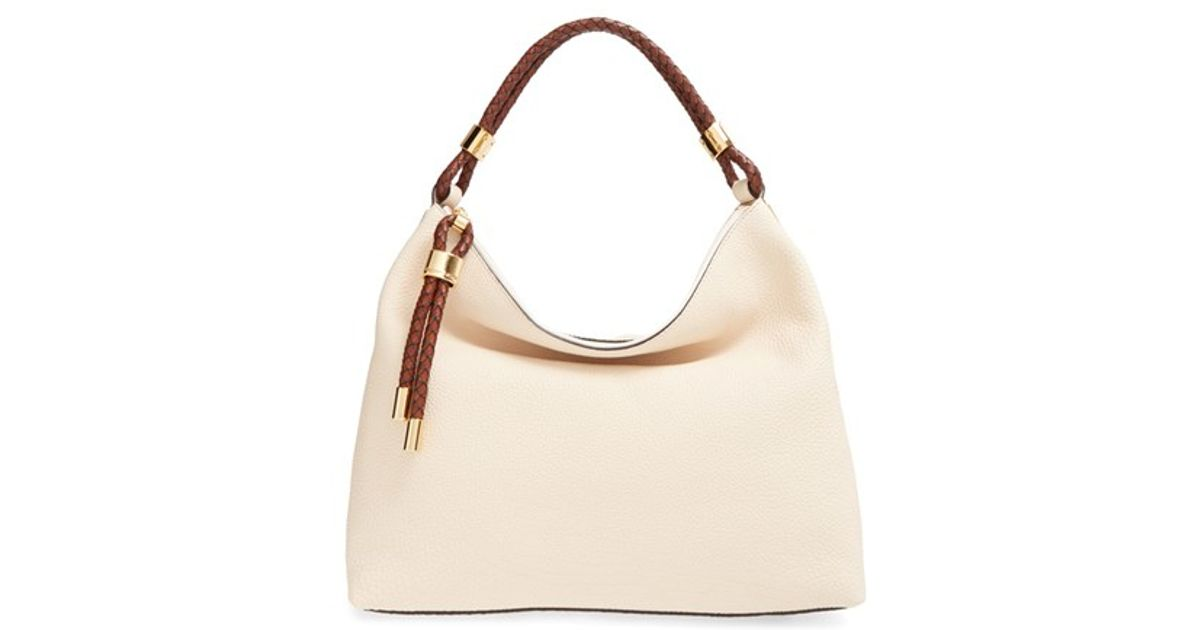 cb2a99130e75 ... bag 4023a ead37 buy lyst michael kors large skorpios leather hobo in  natural e21a1 97007 ...