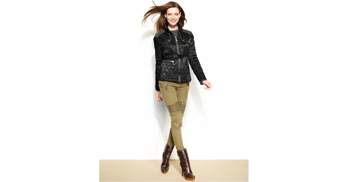 Vince camuto Faux-Suede Quilted Belted Jacket in Black | Lyst : quilted belted coat - Adamdwight.com