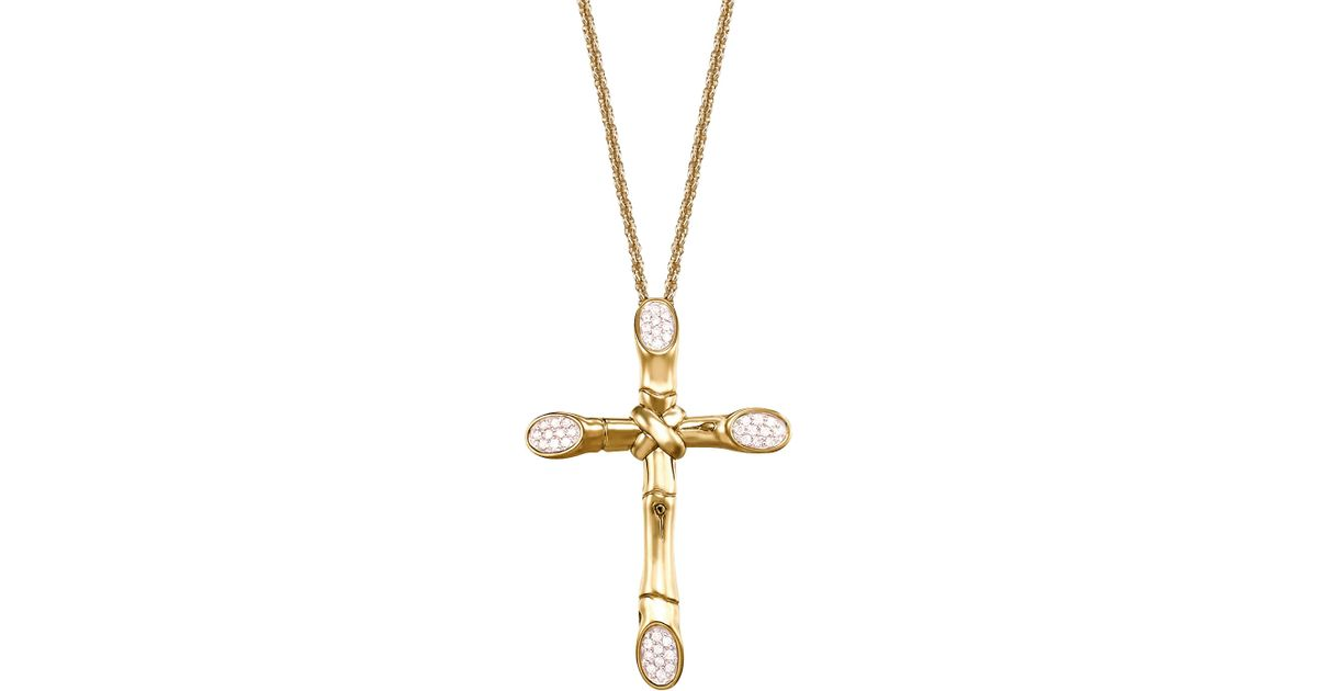 Lyst john hardy bamboo pave diamond cross pendant necklace in metallic aloadofball Image collections