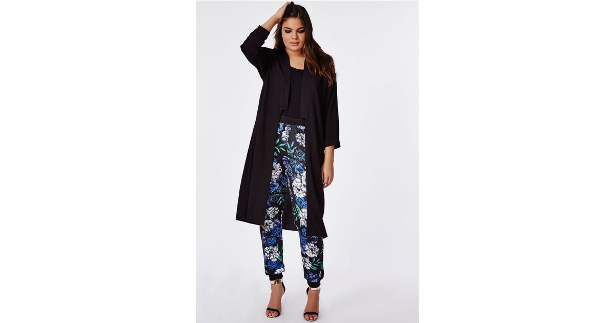 aef4cbac716 Lyst - Missguided Plus Size Longline Crepe Duster Jacket Black in Black