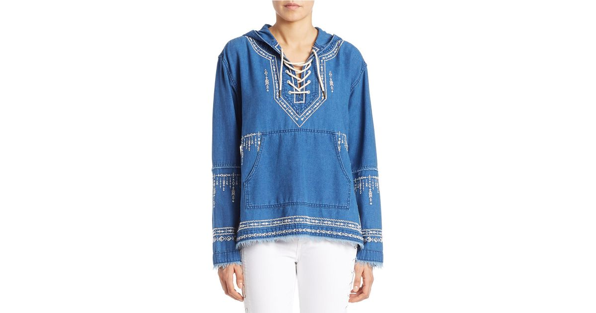 Blank Embroidered Denim Hoodie In Blue Lyst
