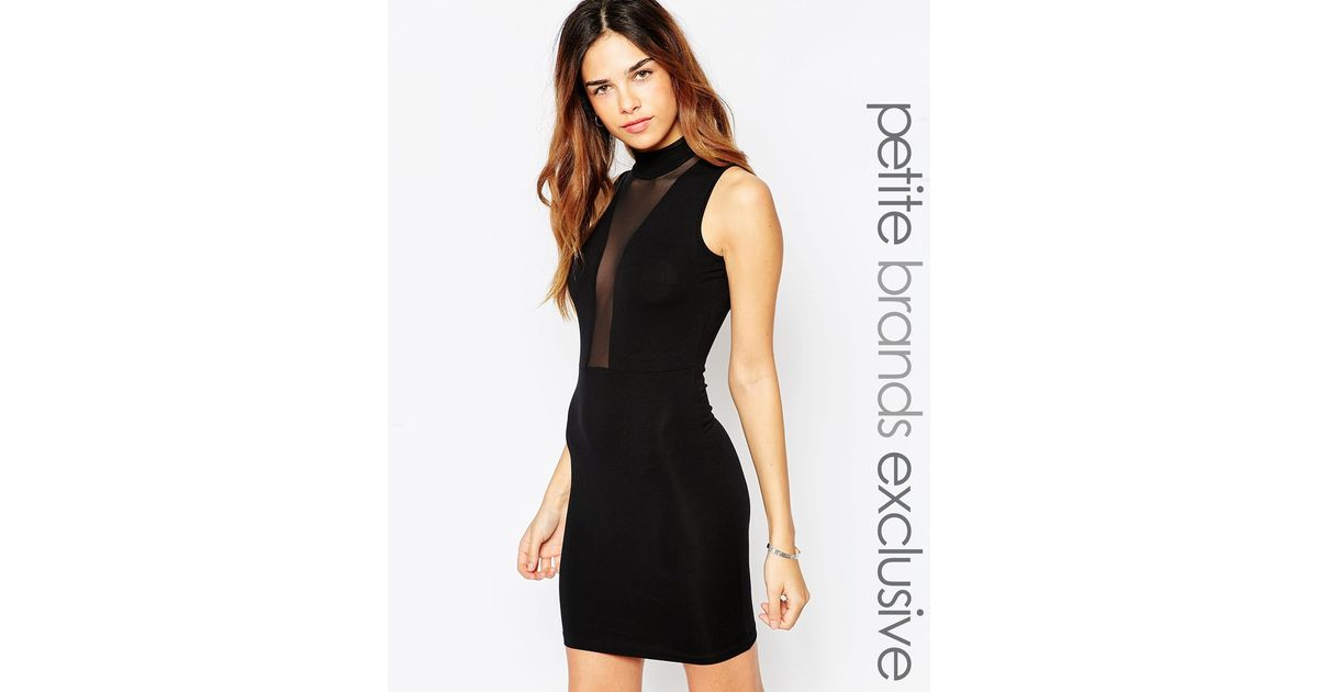 Lyst Asos Mini Dress With Mesh Front And High Neck In Black