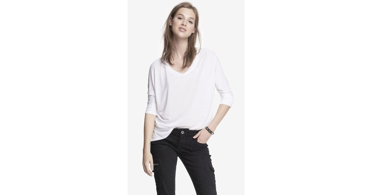 0fad7226608a3d Lyst - Express Dolman Sleeve Tunic Top in White