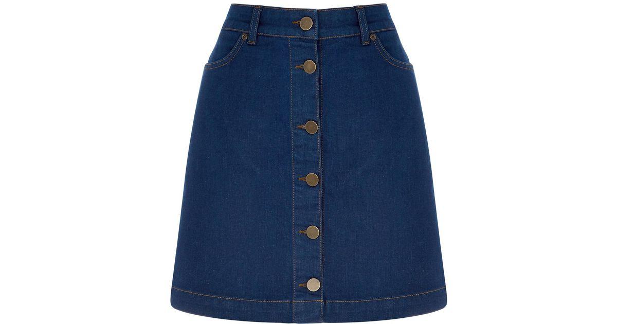 oasis button through mini skirt in blue denim lyst