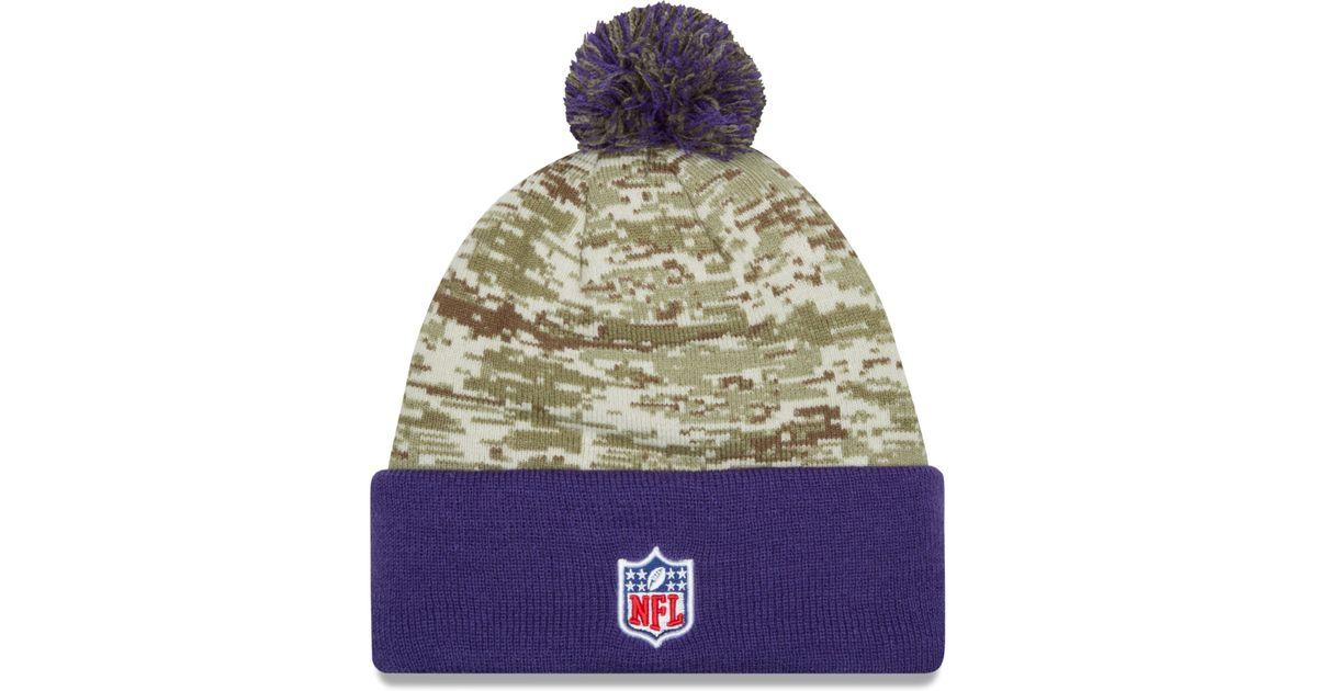 fd14525c5 ... 100% quality 76873 5ff7b Lyst - Ktz Minnesota Vikings Salute To Service  Knit Hat in ...