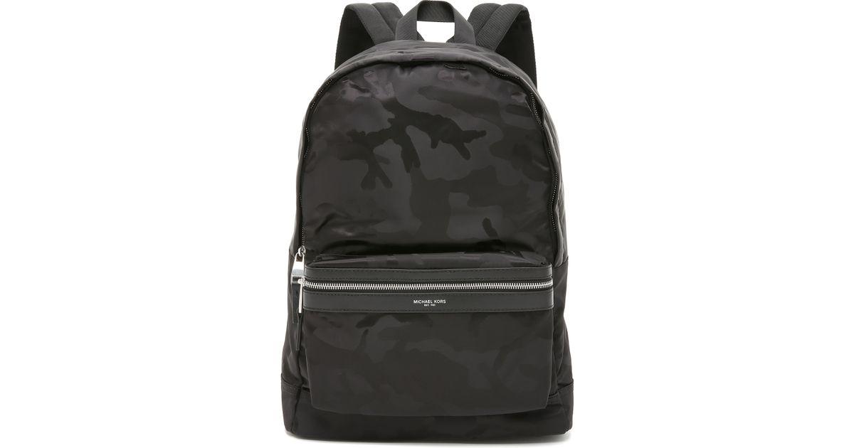 Lyst - Michael Kors Kent Camo Nylon Backpack in Black for Men 2357f965c027