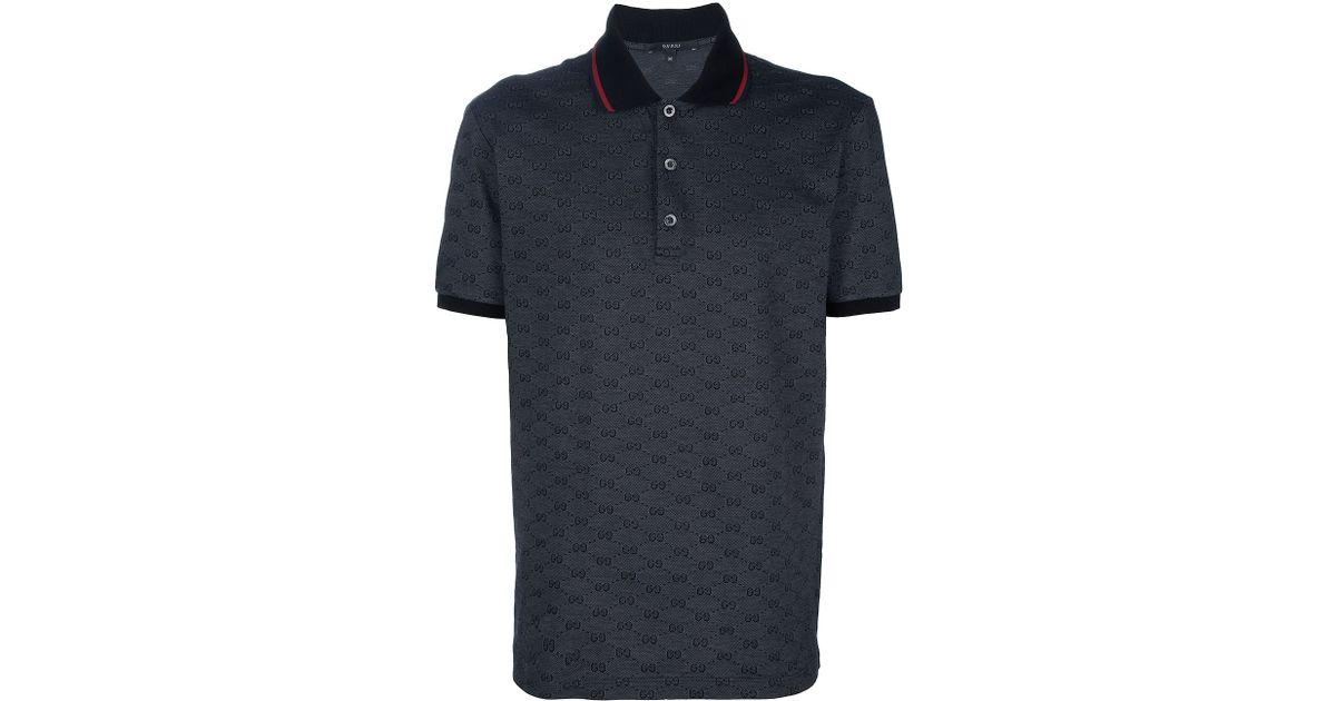 5bd55c29e1c Lyst - Gucci Monogram Polo Shirt in Black for Men